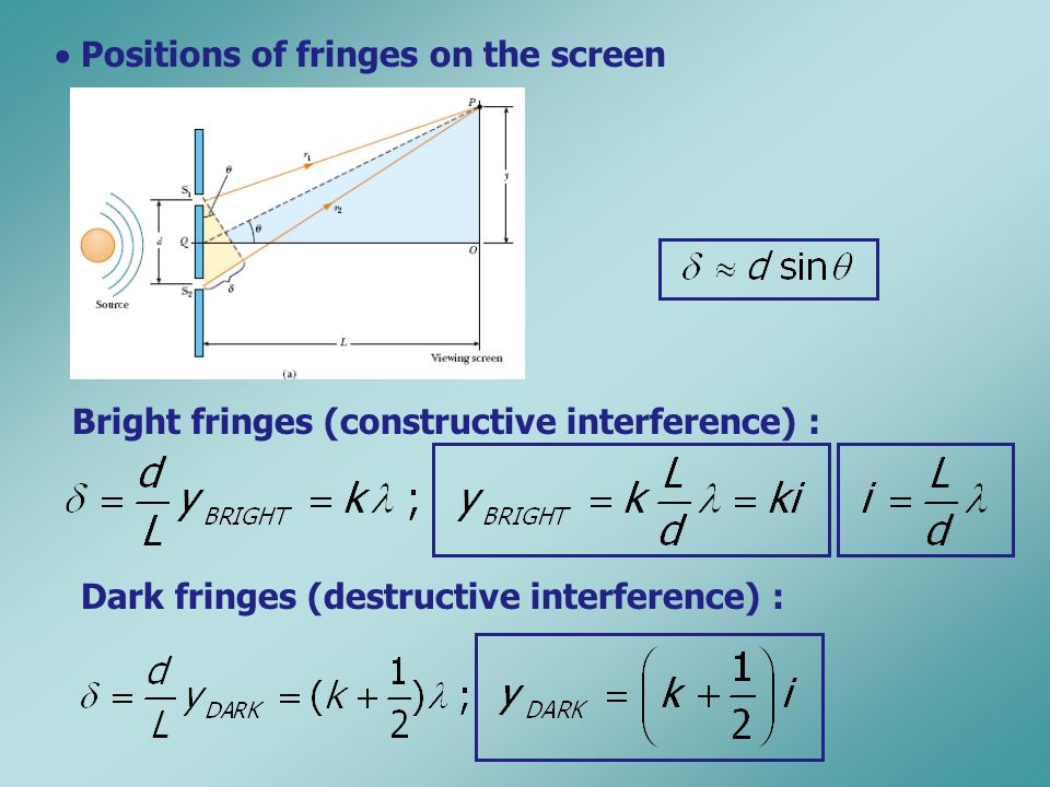  Positions of fringes on the screen Bright fringes (constructive interference) : Dark fringes (destructive interference) :