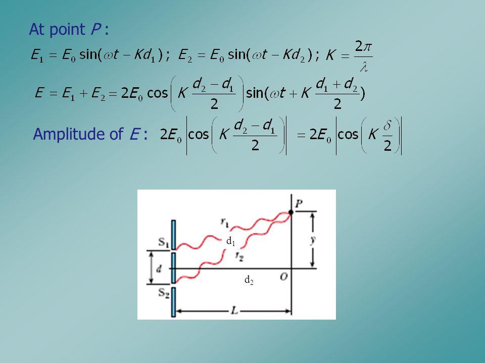 d1d1 d2d2 At point P : Amplitude of E :