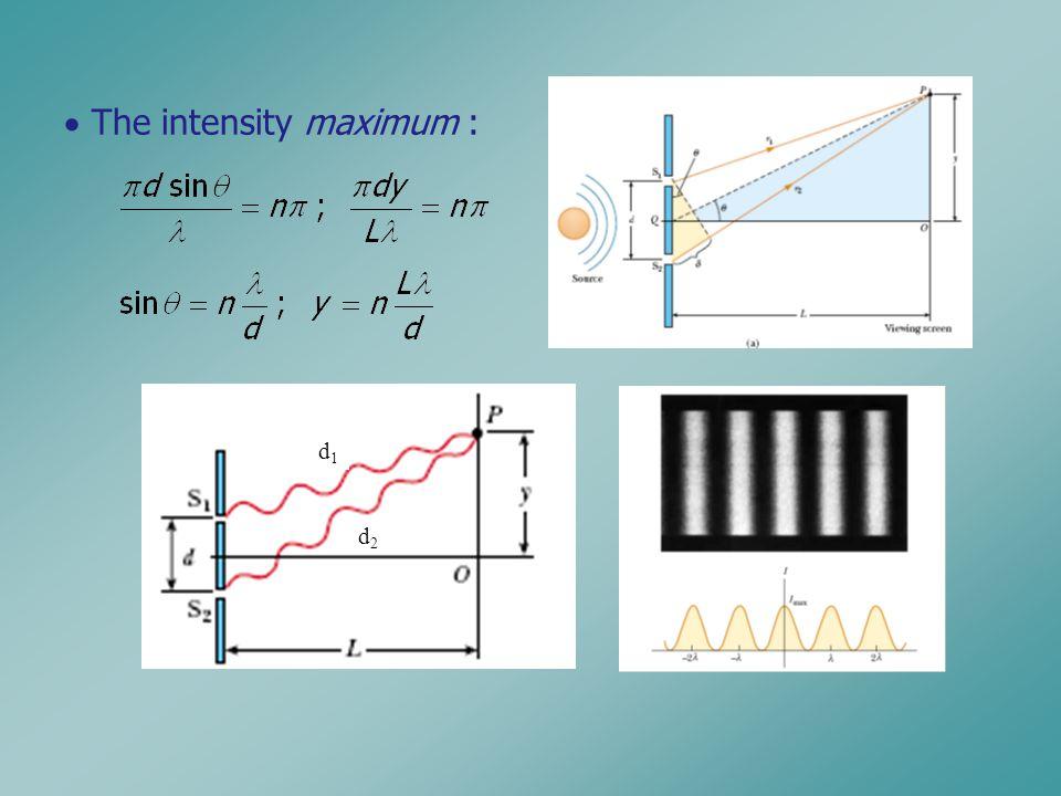 d1d1 d2d2  The intensity maximum :