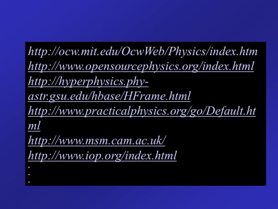 http://ocw.mit.edu/OcwWeb/Physics/index.htm http://www.opensourcephysics.org/index.html http://hyperphysics.phy- astr.gsu.edu/hbase/HFrame.html http:/
