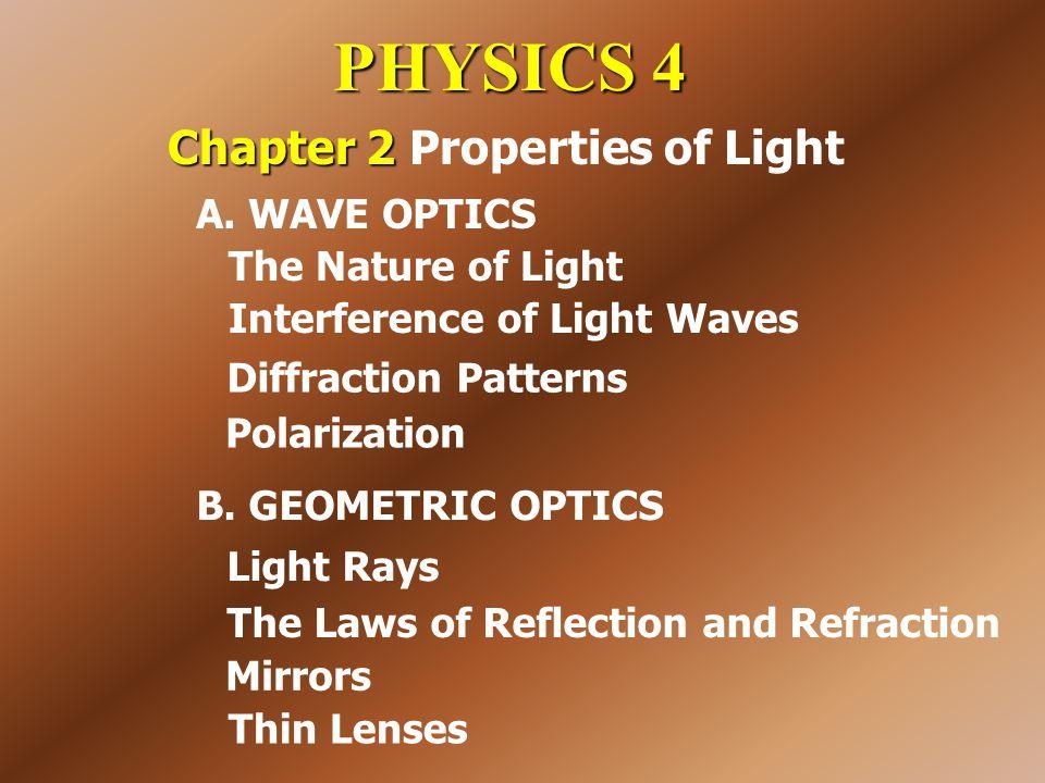 PHYSICS 4 Chapter 2 Chapter 2 Properties of Light B. GEOMETRIC OPTICS A. WAVE OPTICS Interference of Light Waves Diffraction Patterns Polarization The