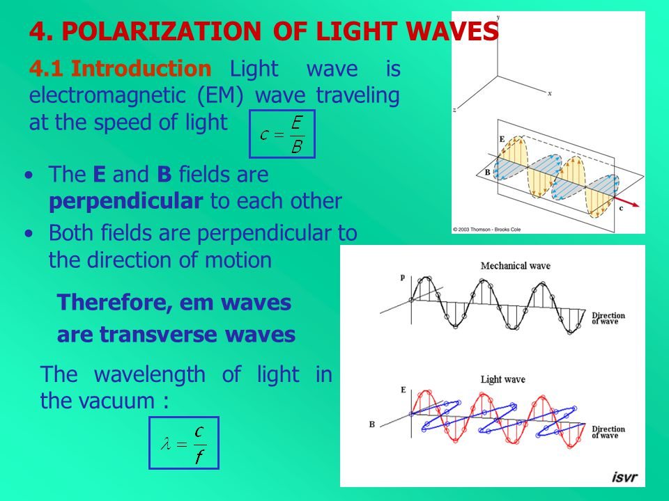 4.1 Introduction Light wave is electromagnetic (EM) wave traveling at the speed of light The E and B fields are perpendicular to each other Both field