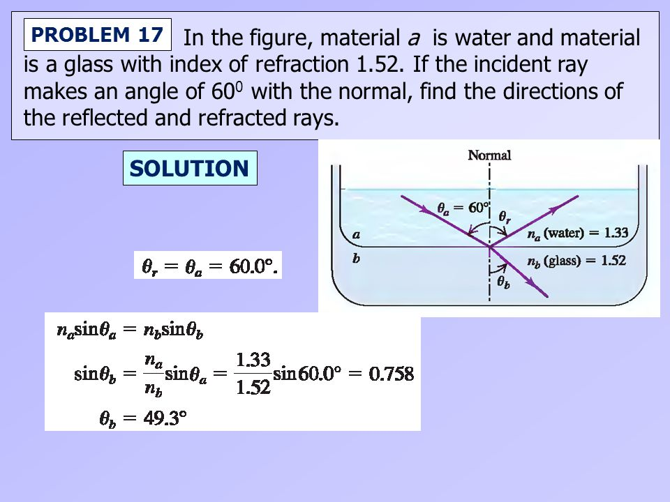 In the figure, material a is water and material is a glass with index of refraction 1.52. If the incident ray makes an angle of 60 0 with the normal,