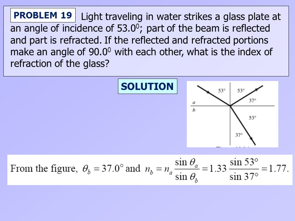 Light traveling in water strikes a glass plate at an angle of incidence of 53.0 0 ; part of the beam is reflected and part is refracted. If the reflec