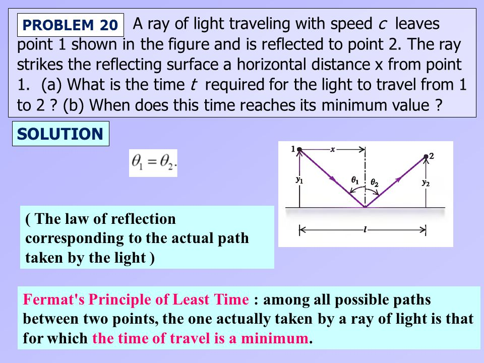 A ray of light traveling with speed c leaves point 1 shown in the figure and is reflected to point 2. The ray strikes the reflecting surface a horizon
