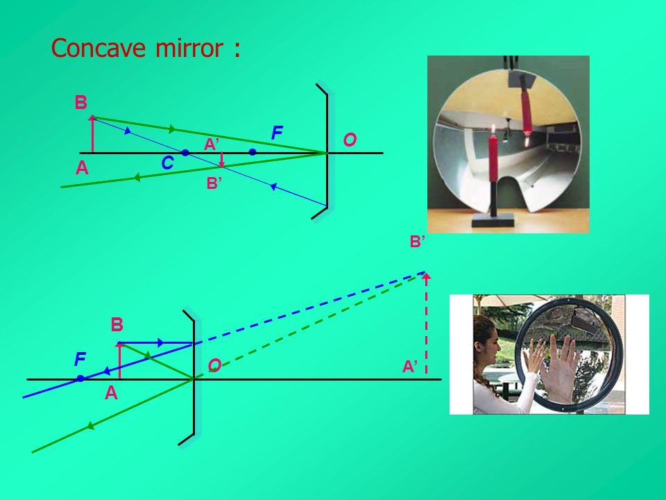 Concave mirror : O C  F  A B A' B' O F  A B A' B'
