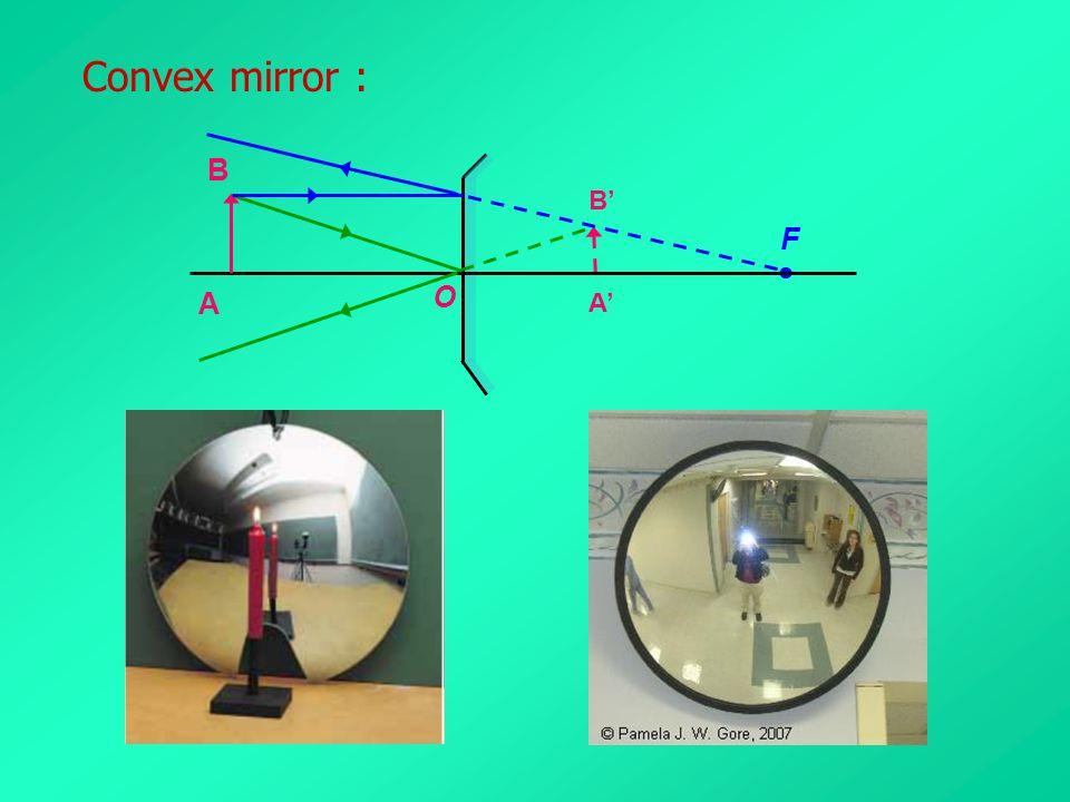 Convex mirror : O F  A B A' B'