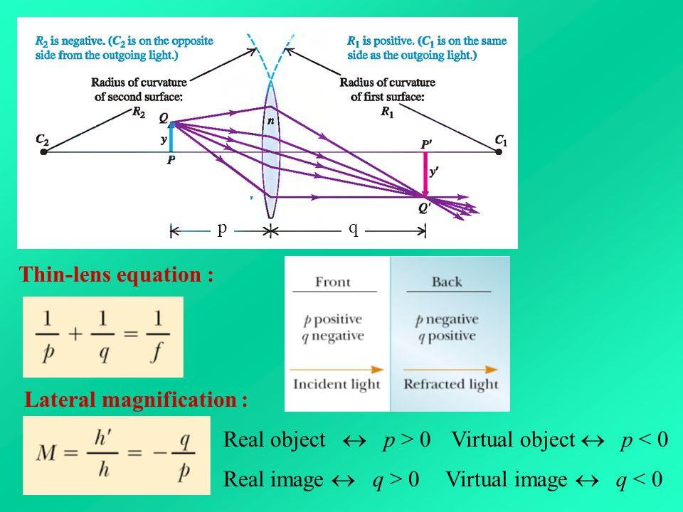 Thin-lens equation : Lateral magnification : pq Real object  p > 0Virtual object  p < 0 Real image  q > 0Virtual image  q < 0
