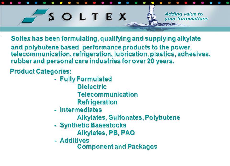 Product Categories: Product Categories: - Fully Formulated DielectricTelecommunicationRefrigeration - Intermediates Alkylates, Sulfonates, Polybutene