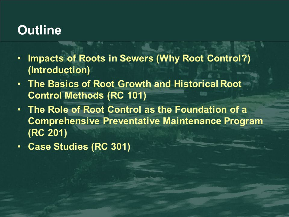 Impacts of Roots in Sewers (Why Root Control ) (Introduction) The Basics of Root Growth and Historical Root Control Methods (RC 101) The Role of Root Control as the Foundation of a Comprehensive Preventative Maintenance Program (RC 201) Case Studies (RC 301) Outline