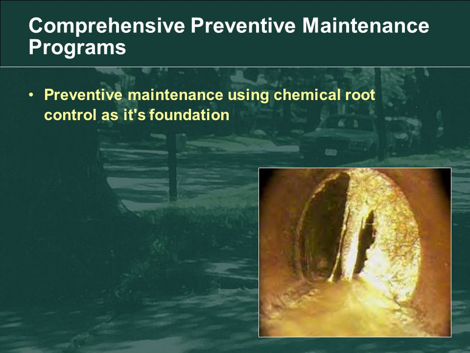 Preventive maintenance using chemical root control as it s foundation Comprehensive Preventive Maintenance Programs