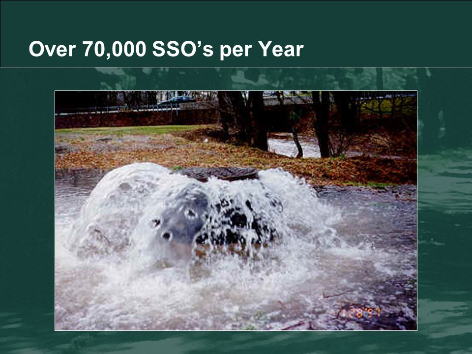 SSO Causes 43% Blockages 27% Infiltration/Inflow (I/I) 12% Structural Failures 11% Power Failures 7% Other