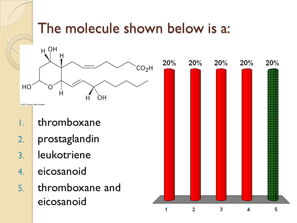 The molecule shown below is a: 1. thromboxane 2. prostaglandin 3.