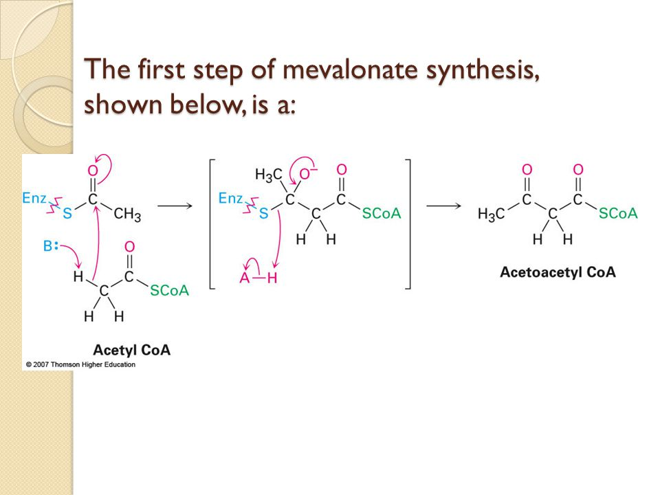 The first step of mevalonate synthesis, shown below, is a: