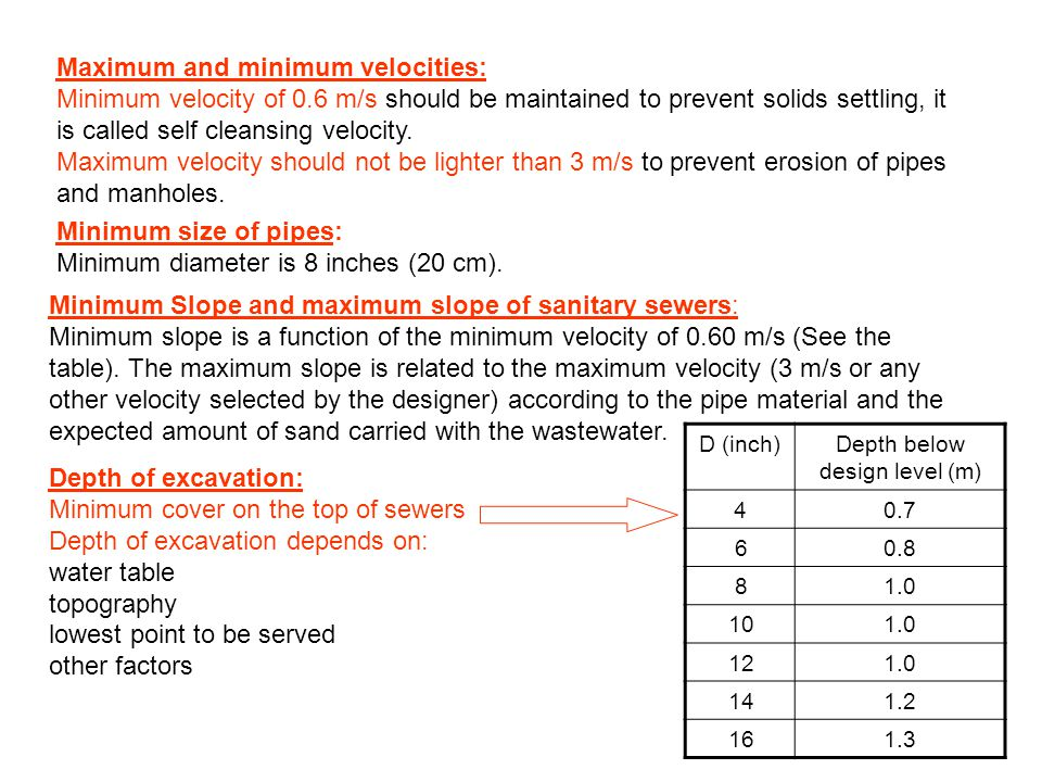 Maximum and minimum velocities: Minimum velocity of 0.6 m/s should be maintained to prevent solids settling, it is called self cleansing velocity. Max