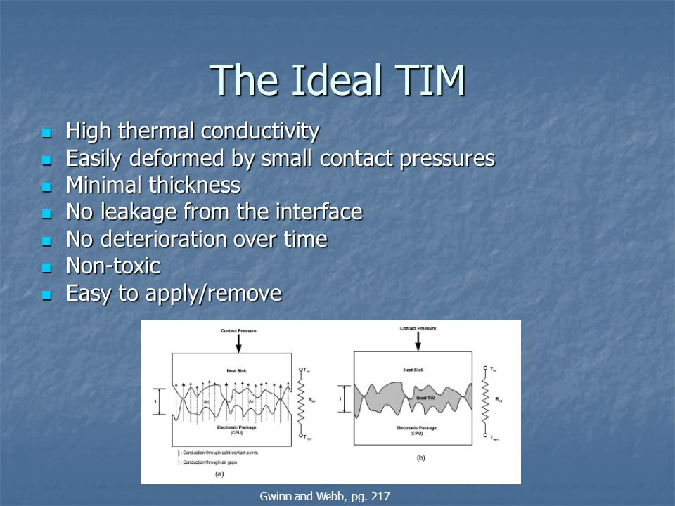 The Ideal TIM High thermal conductivity High thermal conductivity Easily deformed by small contact pressures Easily deformed by small contact pressure