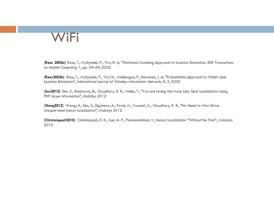 WiFi [Roos 2002a] Roos, T., Myllymaki, P., Tirri, H. A,