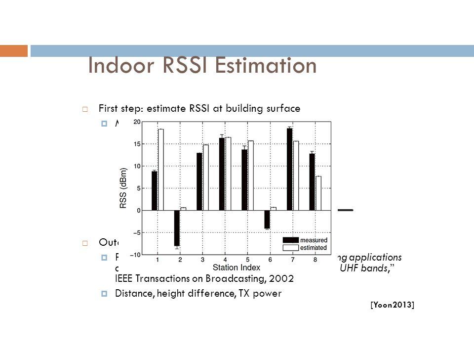 "Indoor RSSI Estimation  First step: estimate RSSI at building surface  Maximum indoor RSSI  Outdoor path model is used  Perez-Vega et al., ""Path-l"