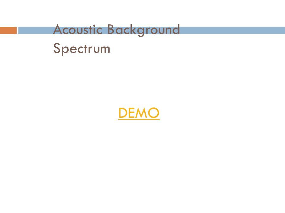 Acoustic Background Spectrum DEMO