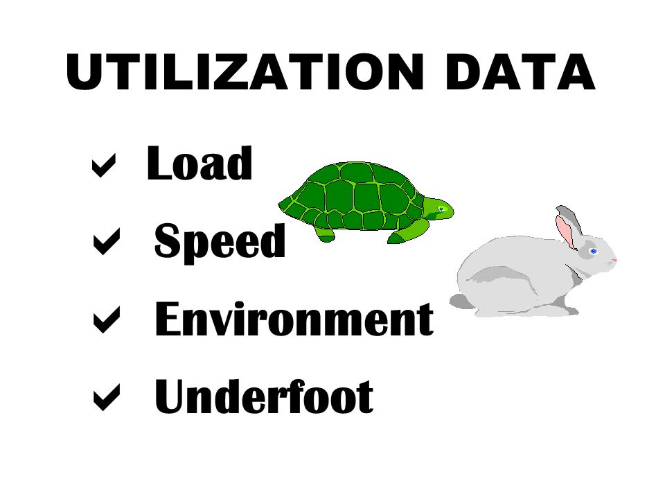 UTILIZATION DATA  Load  Speed  Environment  Underfoot