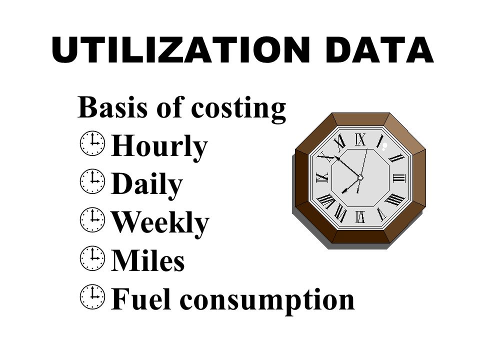 UTILIZATION DATA Basis of costing  Hourly  Daily  Weekly  Miles  Fuel consumption