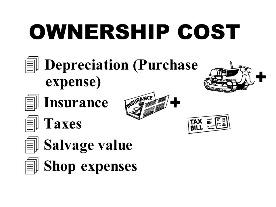 OWNERSHIP COST  Depreciation (Purchase expense) 4 Insurance 4 Taxes 4 Salvage value 4 Shop expenses