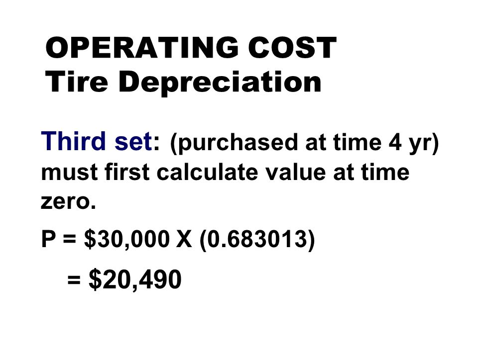 OPERATING COST Tire Depreciation Third set: (purchased at time 4 yr) must first calculate value at time zero. P = $30,000 X (0.683013) = $20,490