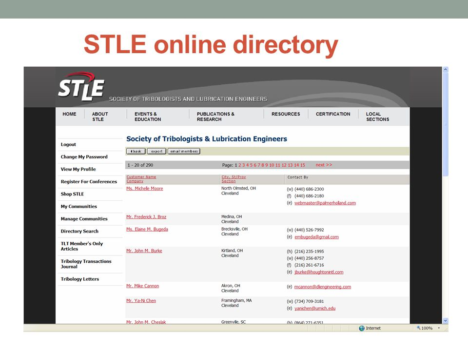 STLE online directory