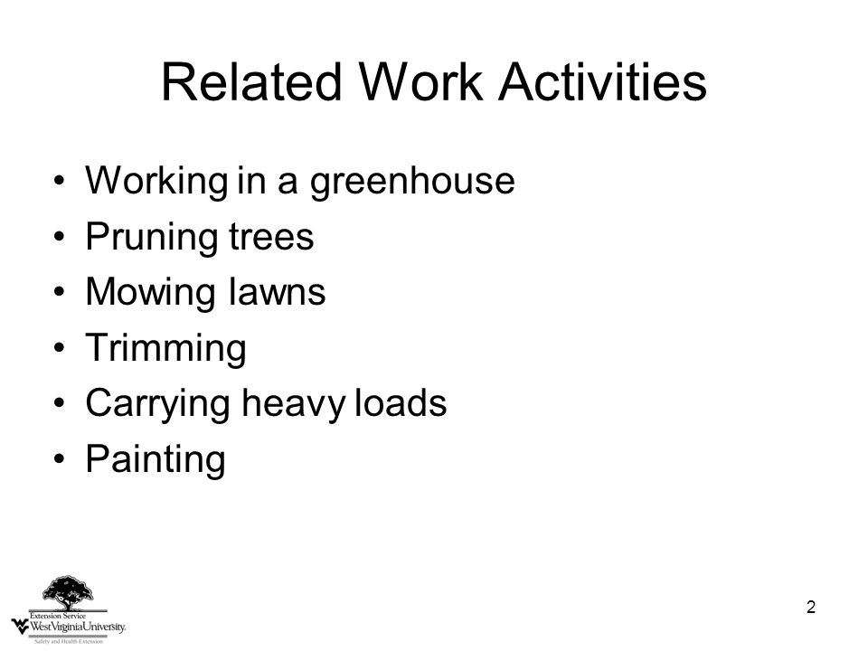 2 Related Work Activities Working in a greenhouse Pruning trees Mowing lawns Trimming Carrying heavy loads Painting