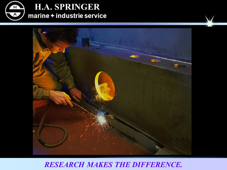 H.A.SPRINGER marine + industrie service RESEARCH MAKES THE DIFFERENCE.