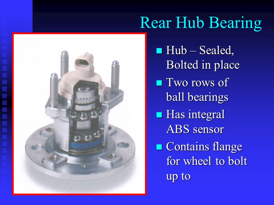 Rear Hub Bearing Hub – Sealed, Bolted in place Hub – Sealed, Bolted in place Two rows of ball bearings Two rows of ball bearings Has integral ABS sensor Has integral ABS sensor Contains flange for wheel to bolt up to Contains flange for wheel to bolt up to
