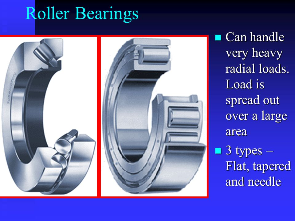 Roller Bearings Can handle very heavy radial loads.