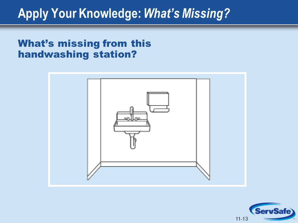 11-13 Apply Your Knowledge: What's Missing What's missing from this handwashing station 11-13