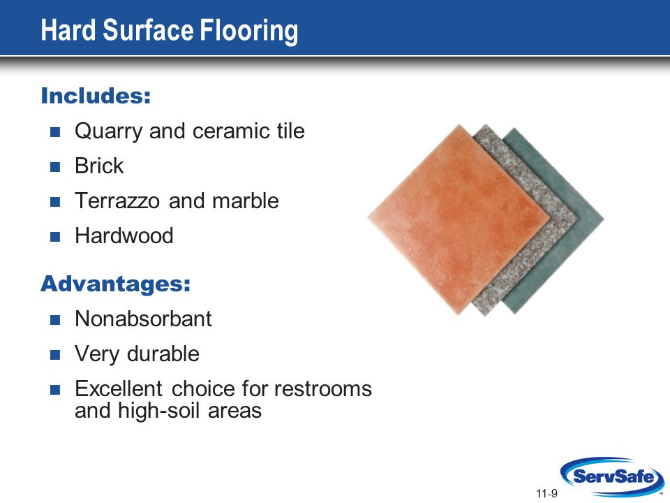 11-10 Special Flooring Needs Coving: A curved, sealed edge placed between the floor and wall It eliminates sharp corners or gaps that would be impossible to clean It must adhere tightly to the wall to: Eliminate hiding places for pests Prevent moisture from deteriorating the wall