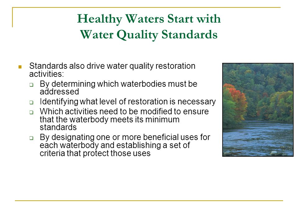 Healthy Waters Start with Water Quality Standards Standards also drive water quality restoration activities:  By determining which waterbodies must be addressed  Identifying what level of restoration is necessary  Which activities need to be modified to ensure that the waterbody meets its minimum standards  By designating one or more beneficial uses for each waterbody and establishing a set of criteria that protect those uses