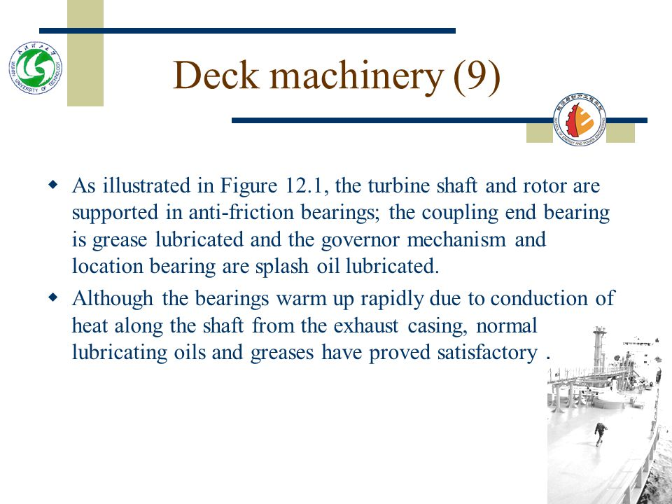 Deck machinery (8)  An alternative form of steam drive is the reversing steam turbine which is illustrated in Figure 12.1.  This machine requires le
