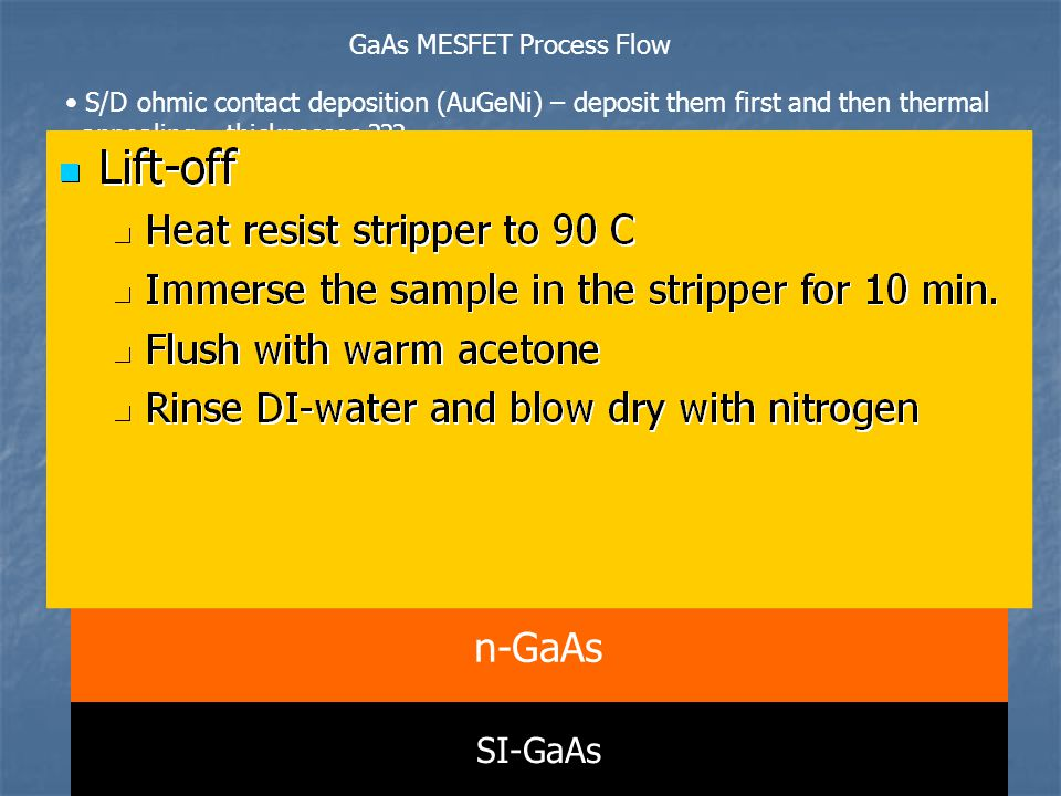 5 GaAs MESFET Process Flow SI-GaAs n-GaAs hard PR S/D ohmic contact deposition (AuGeNi) – deposit them first and then thermal annealing – thicknesses