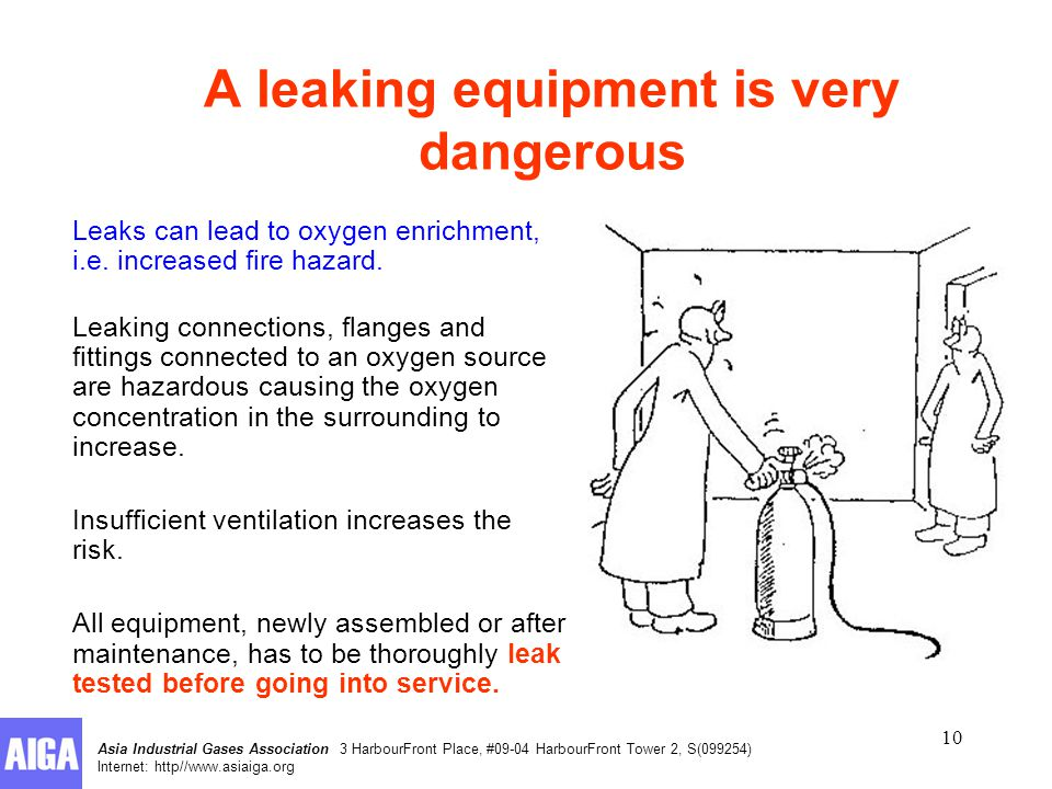 Asia Industrial Gases Association 3 HarbourFront Place, #09-04 HarbourFront Tower 2, S(099254) Internet: http//www.asiaiga.org 10 A leaking equipment is very dangerous Leaks can lead to oxygen enrichment, i.e.