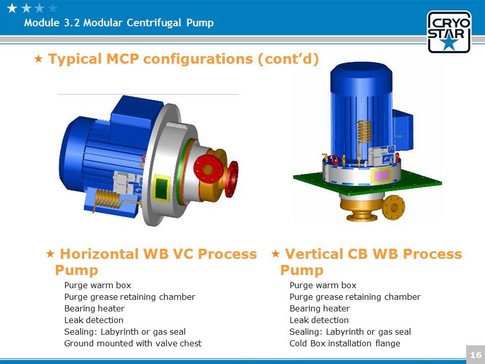 16 Module 3.2 Modular Centrifugal Pump Typical MCP configurations (cont'd) Horizontal WB VC Process Pump Purge warm box Purge grease retaining chamber
