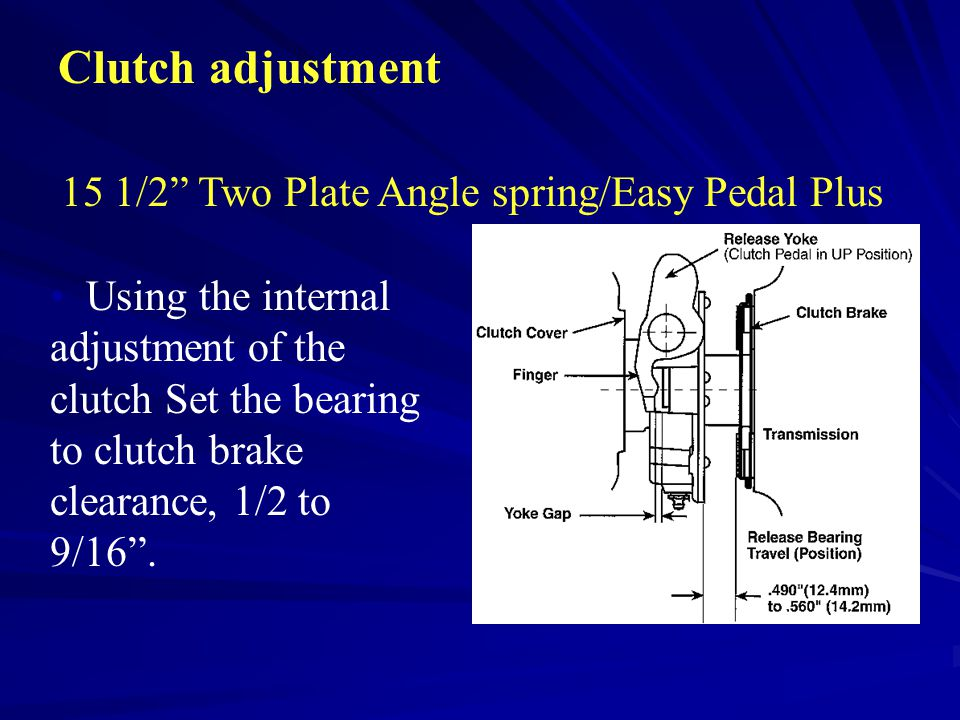 "Clutch adjustment 15 1/2"" Two Plate Angle spring/Easy Pedal Plus Using the internal adjustment of the clutch Set the bearing to clutch brake clearance"