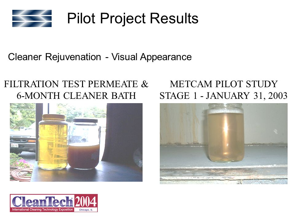 Cleaner Rejuvenation - Visual Appearance METCAM PILOT STUDY STAGE 1 - JANUARY 31, 2003 FILTRATION TEST PERMEATE & 6-MONTH CLEANER BATH Pilot Project Results