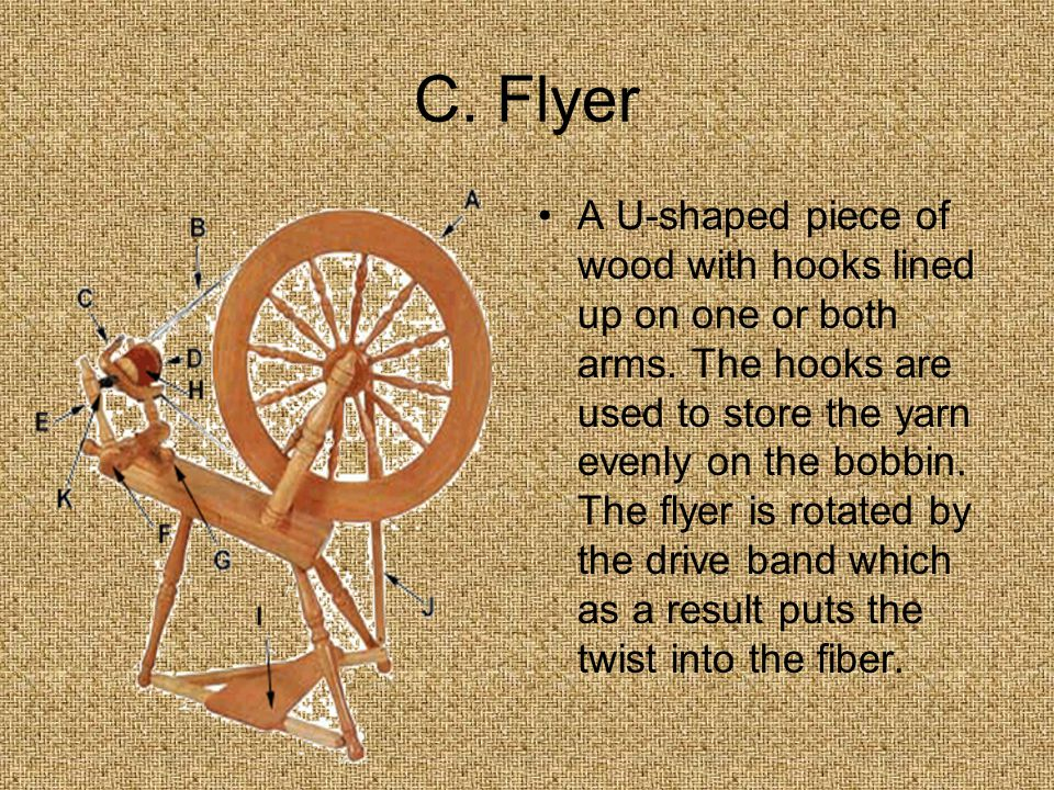 C. Flyer A U-shaped piece of wood with hooks lined up on one or both arms.