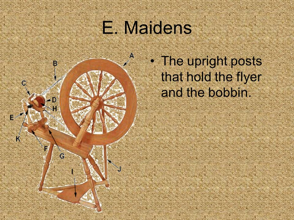 E. Maidens The upright posts that hold the flyer and the bobbin.