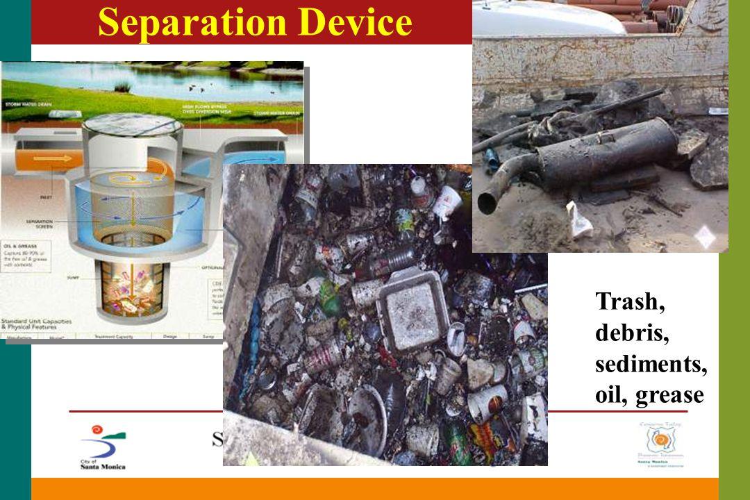 Separation Device Trash, debris, sediments, oil, grease