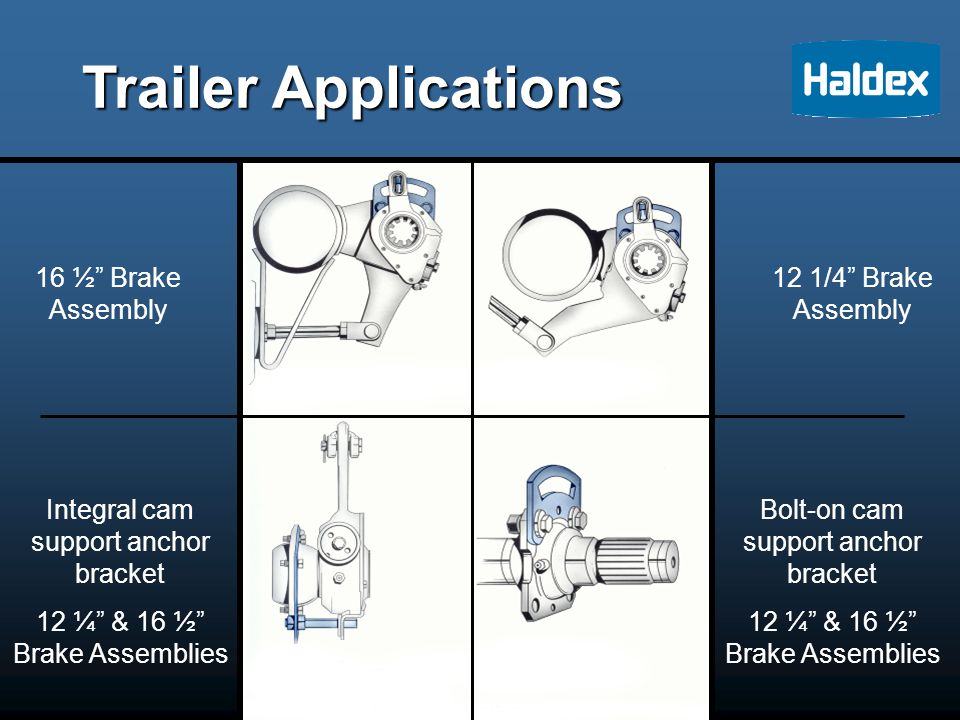 Trailer Applications 16 ½ Brake Assembly Integral cam support anchor bracket 12 ¼ & 16 ½ Brake Assemblies 12 1/4 Brake Assembly Bolt-on cam support anchor bracket 12 ¼ & 16 ½ Brake Assemblies