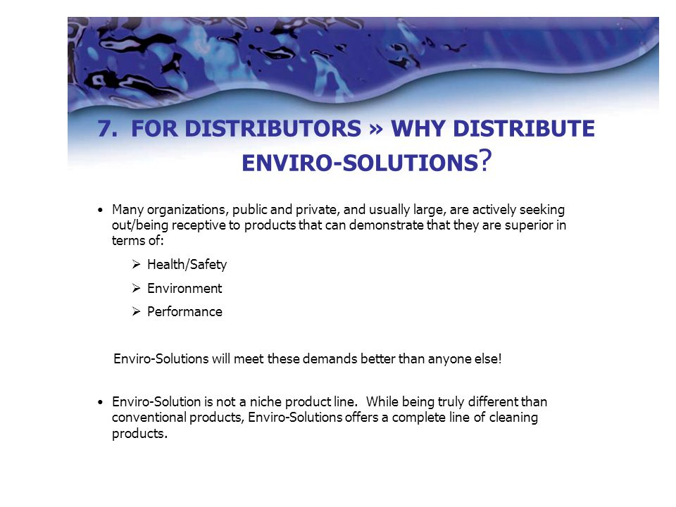 7. 7.FOR DISTRIBUTORS » WHY DISTRIBUTE ENVIRO-SOLUTIONS .