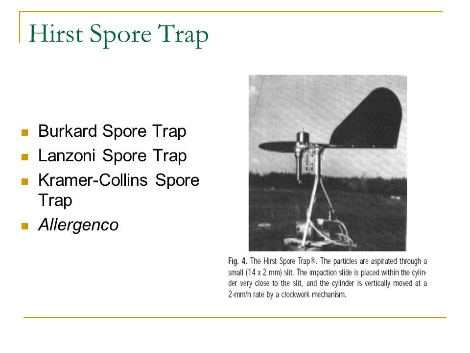 Hirst Spore Trap Burkard Spore Trap Lanzoni Spore Trap Kramer-Collins Spore Trap Allergenco