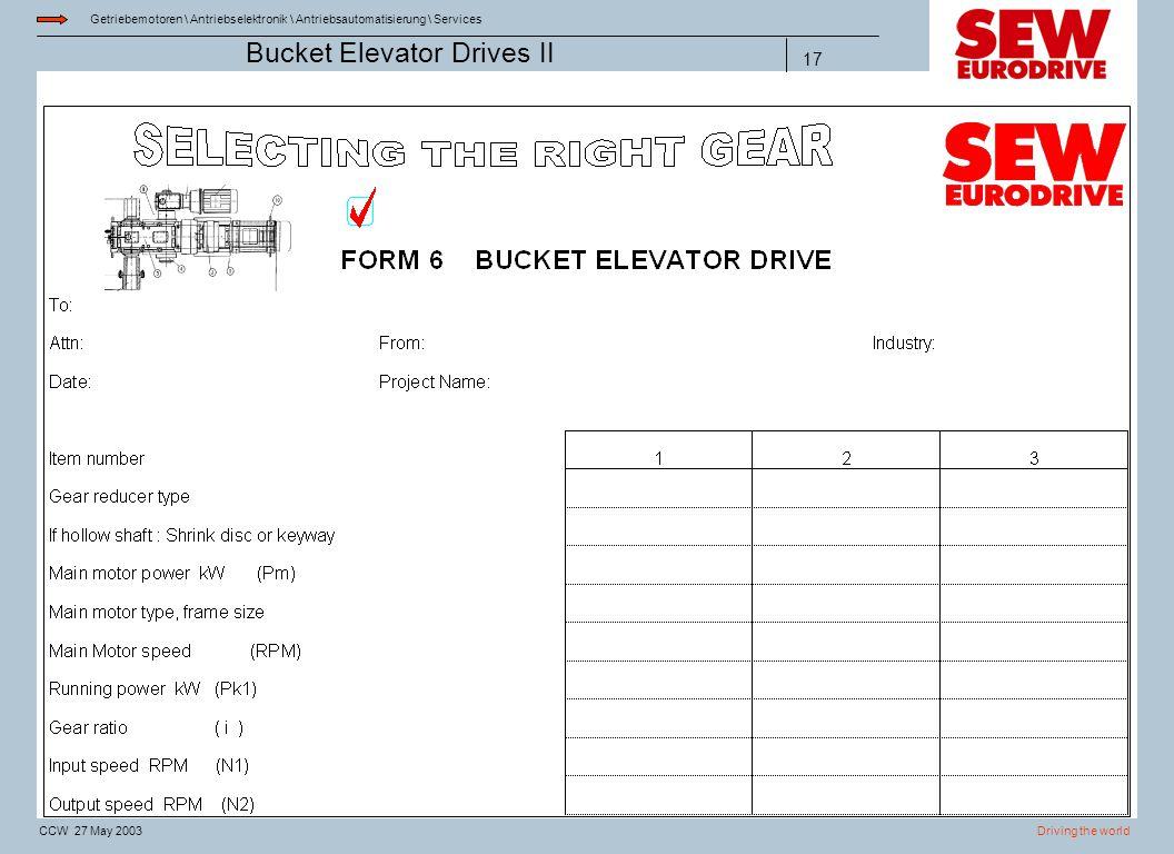 Getriebemotoren \ Antriebselektronik \ Antriebsautomatisierung \ Services Driving the worldCCW 27 May 2003 Bucket Elevator Drives II 17