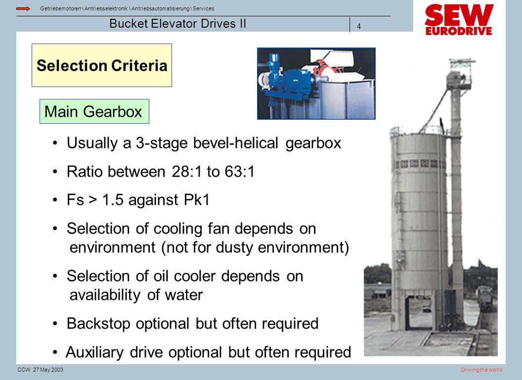Getriebemotoren \ Antriebselektronik \ Antriebsautomatisierung \ Services Driving the worldCCW 27 May 2003 Bucket Elevator Drives II 4 Selection Crite