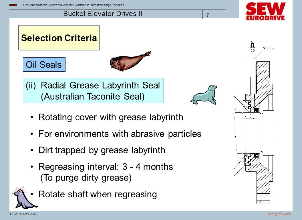 Getriebemotoren \ Antriebselektronik \ Antriebsautomatisierung \ Services Driving the worldCCW 27 May 2003 Bucket Elevator Drives II 7 Selection Crite